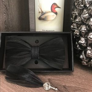 Other - Luxury Black Feather Bowtie with Brooch